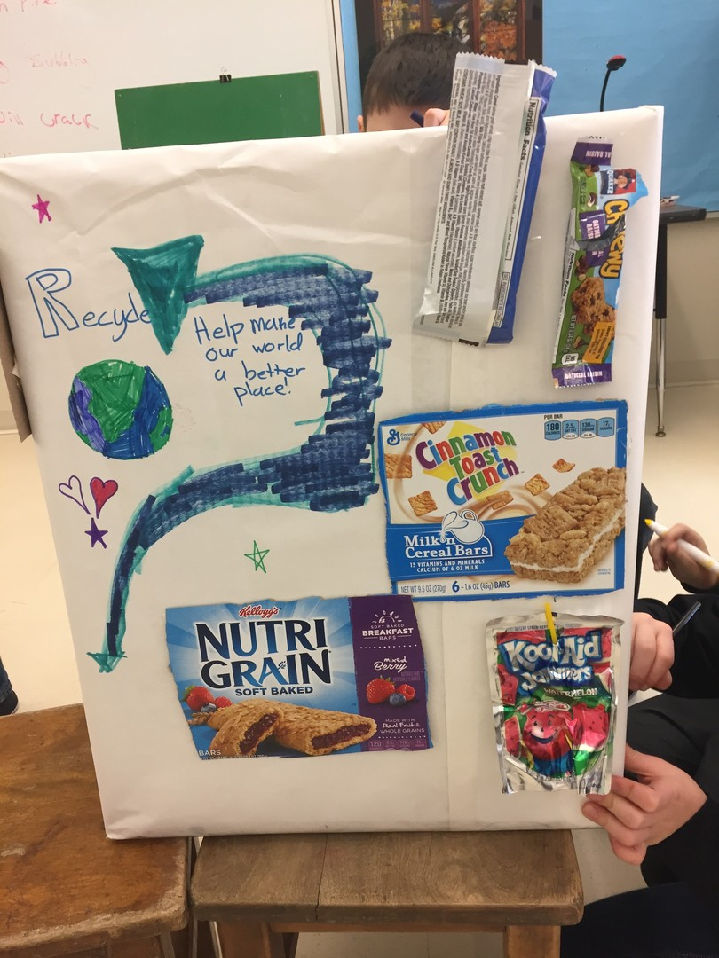 Mallett School's Early Act group creates a TerraCycle collection box for their cafeteria.
